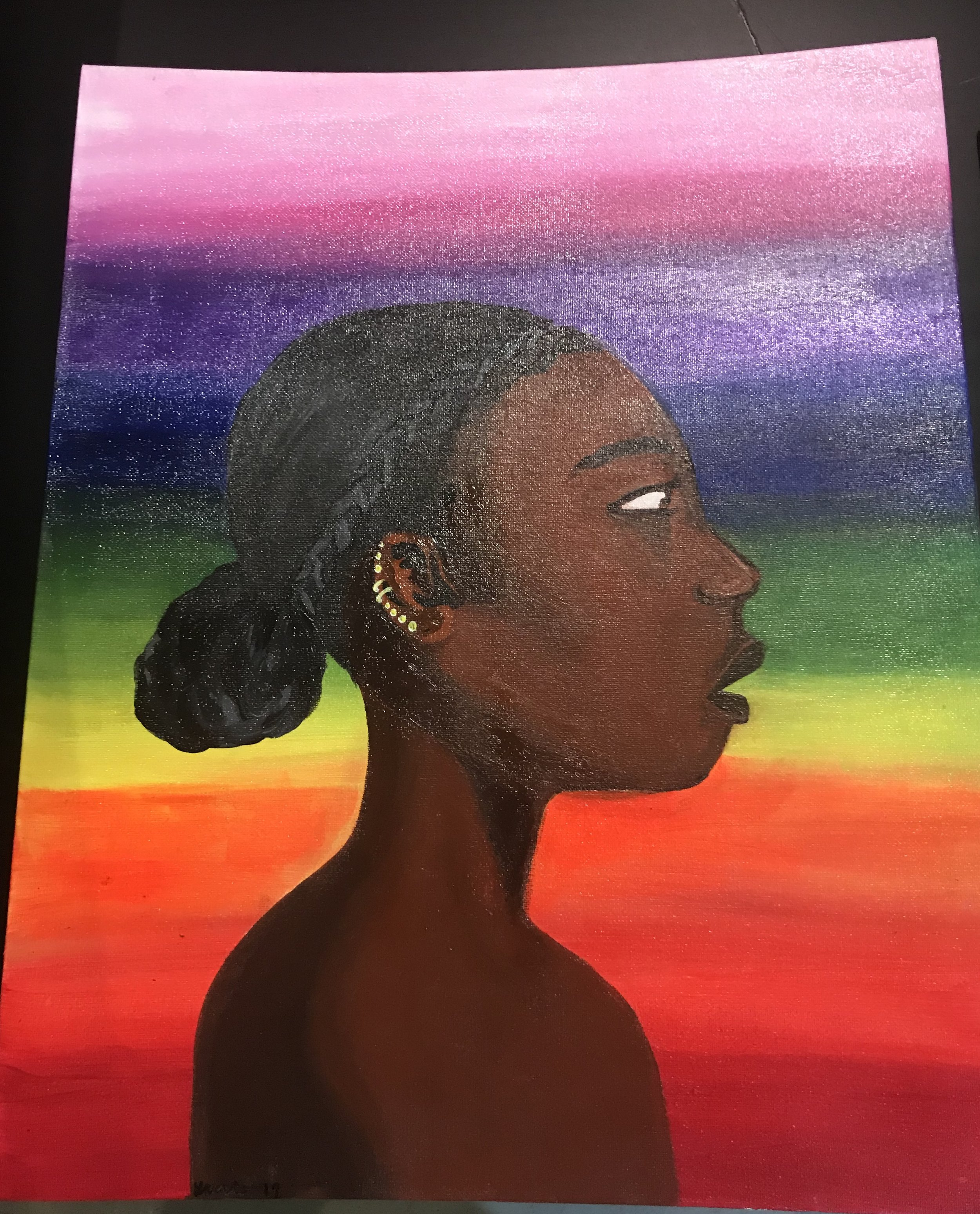 In this painting, I tried to capture the audience (a young black girl), who will actually be looking at my work so that they feel like they are a part of my art and the whole experience.