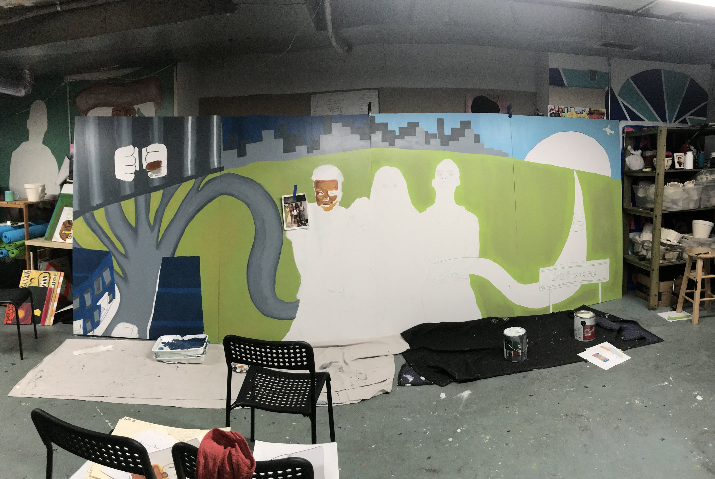 Progress on our mural for the Office of the Public Defender!