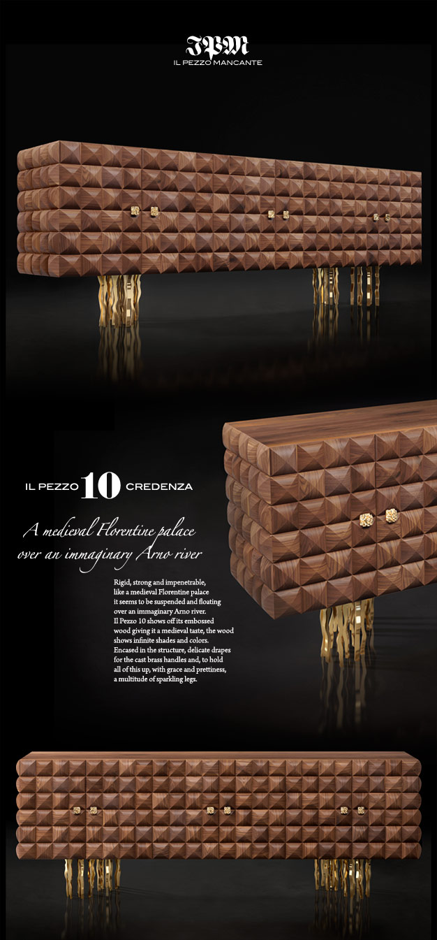 Il Pezzo 10 Credenza made of solid walnut and brass casting