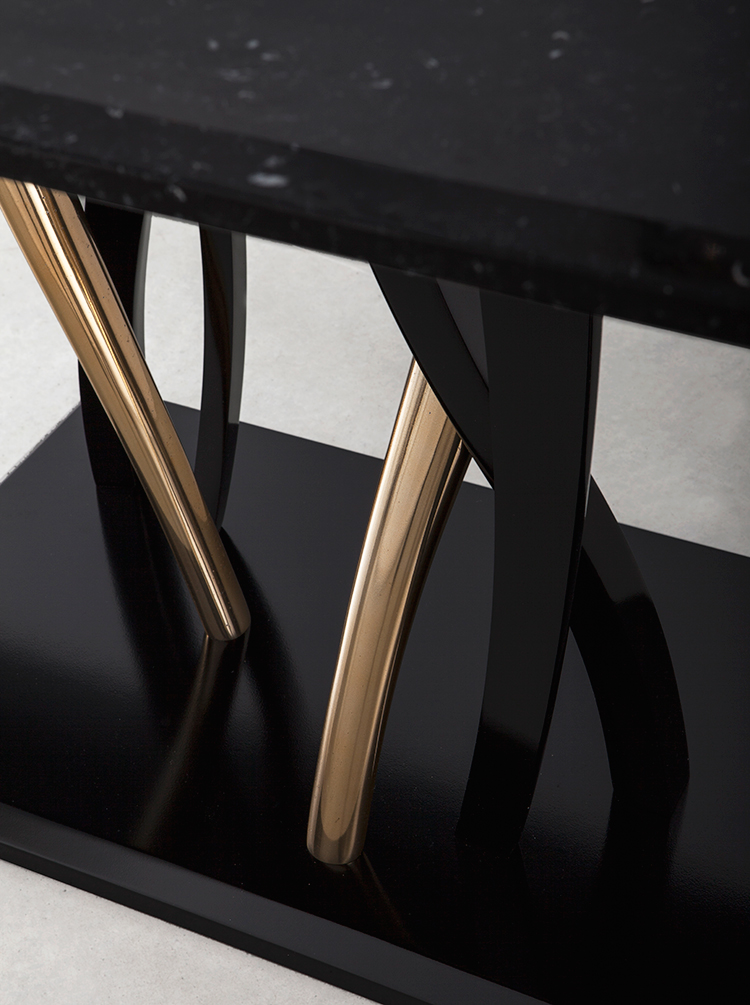 Il Pezzo 8 Marble Table with black and gold base by Il Pezzo Mancante