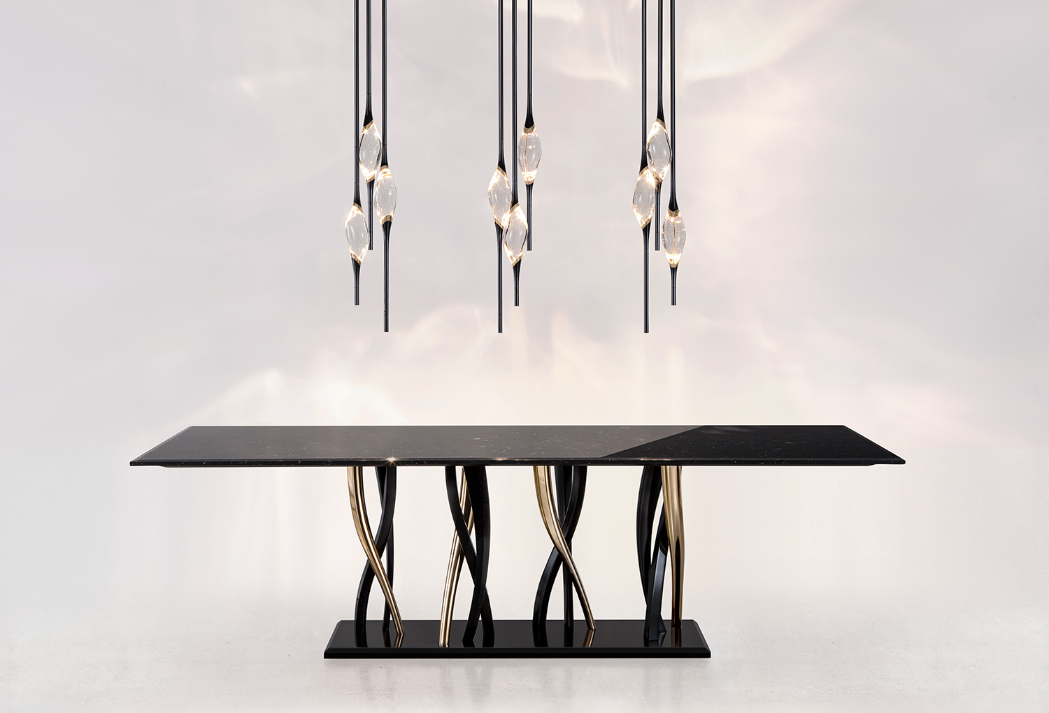 Il Pezzo 12 is a LED chandelier made of brass and crystal Made in Italy