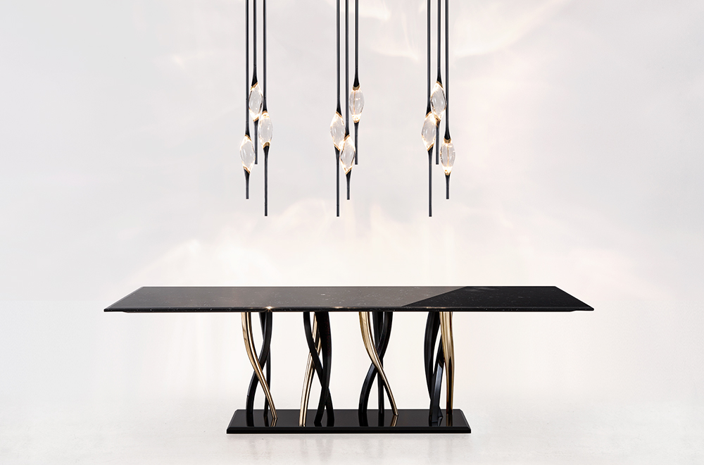 Il-Pezzo-8-Marble-Table-black-and-gold-and-Il-Pezzo-12-Round-Chandelier.jpg