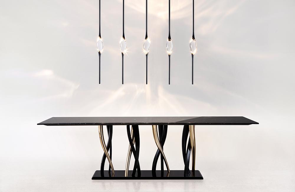 Il Pezzo 12 Long Chandelier with Il Pezzo 8 Marble Table by Il Pezzo Mancante