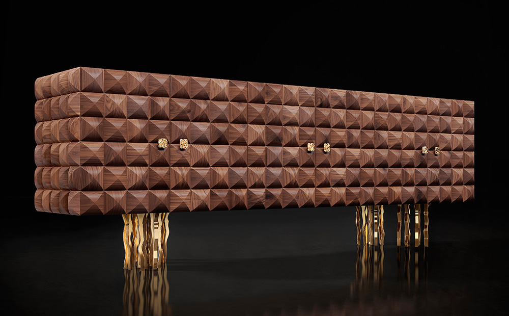 Il Pezzo 10 Credenza  - solid walnut, gold base and handles
