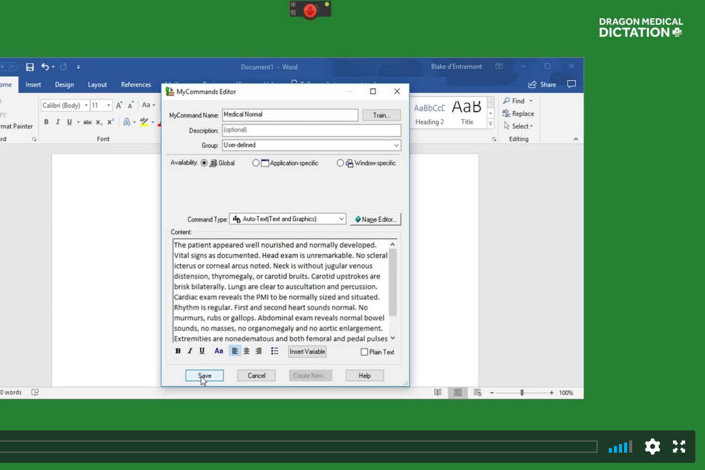 TUTORIAL #9: CREATING TEMPLATES IN DRAGON   This brief tutorial goes over how to create fully customizable templates in Dragon Medical which can be called up by voice in any field.