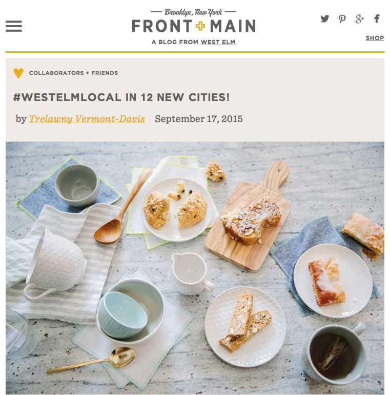 Click to read full blog post by Front & Main. Photo used by West Elm was taken by friend & photographer,  Lara   Woolfson . More from our photoshoot  here .