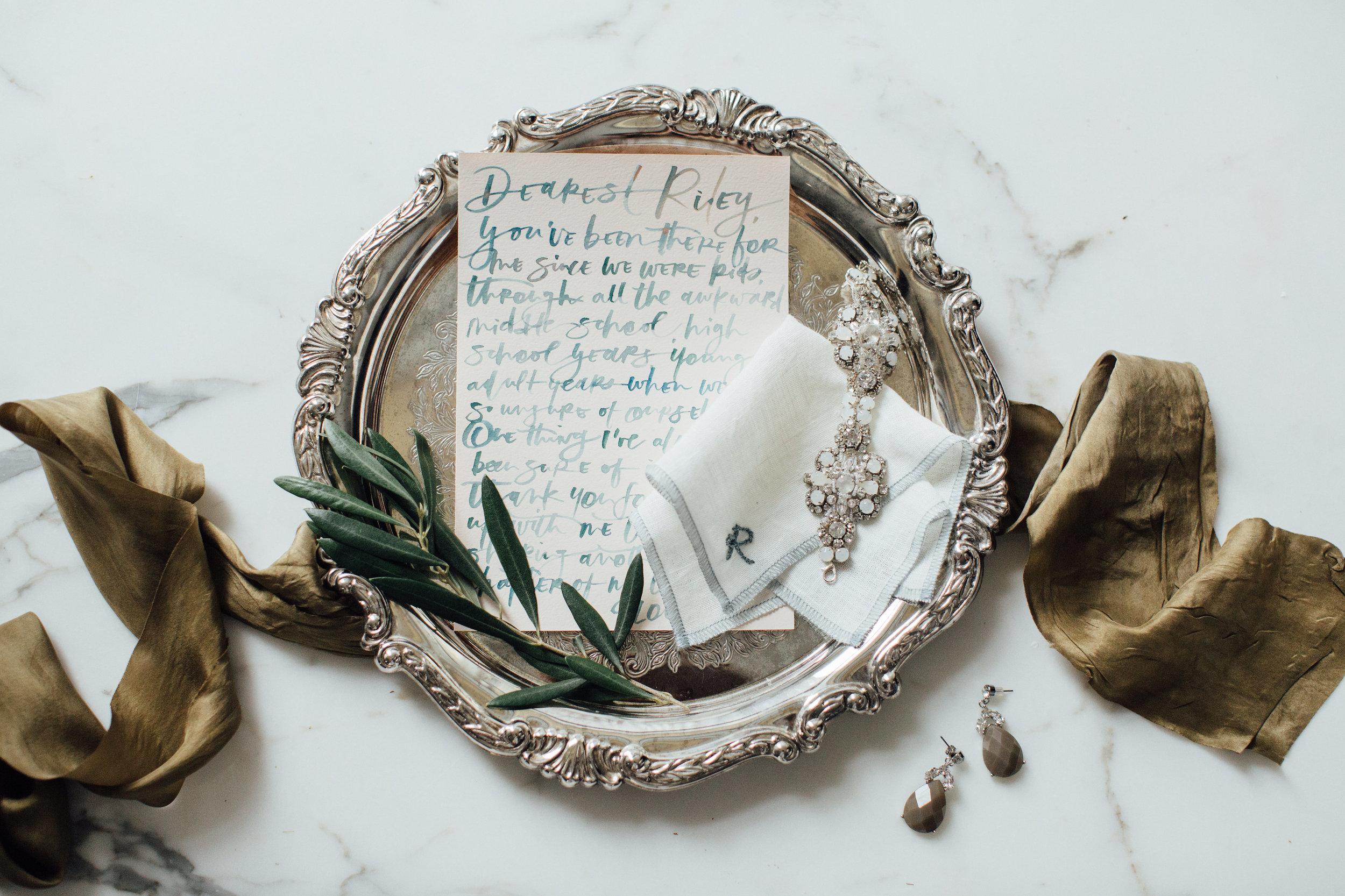 bridesmaid-gift-note-letter-handkerchief-monogram-li-ward-wedding