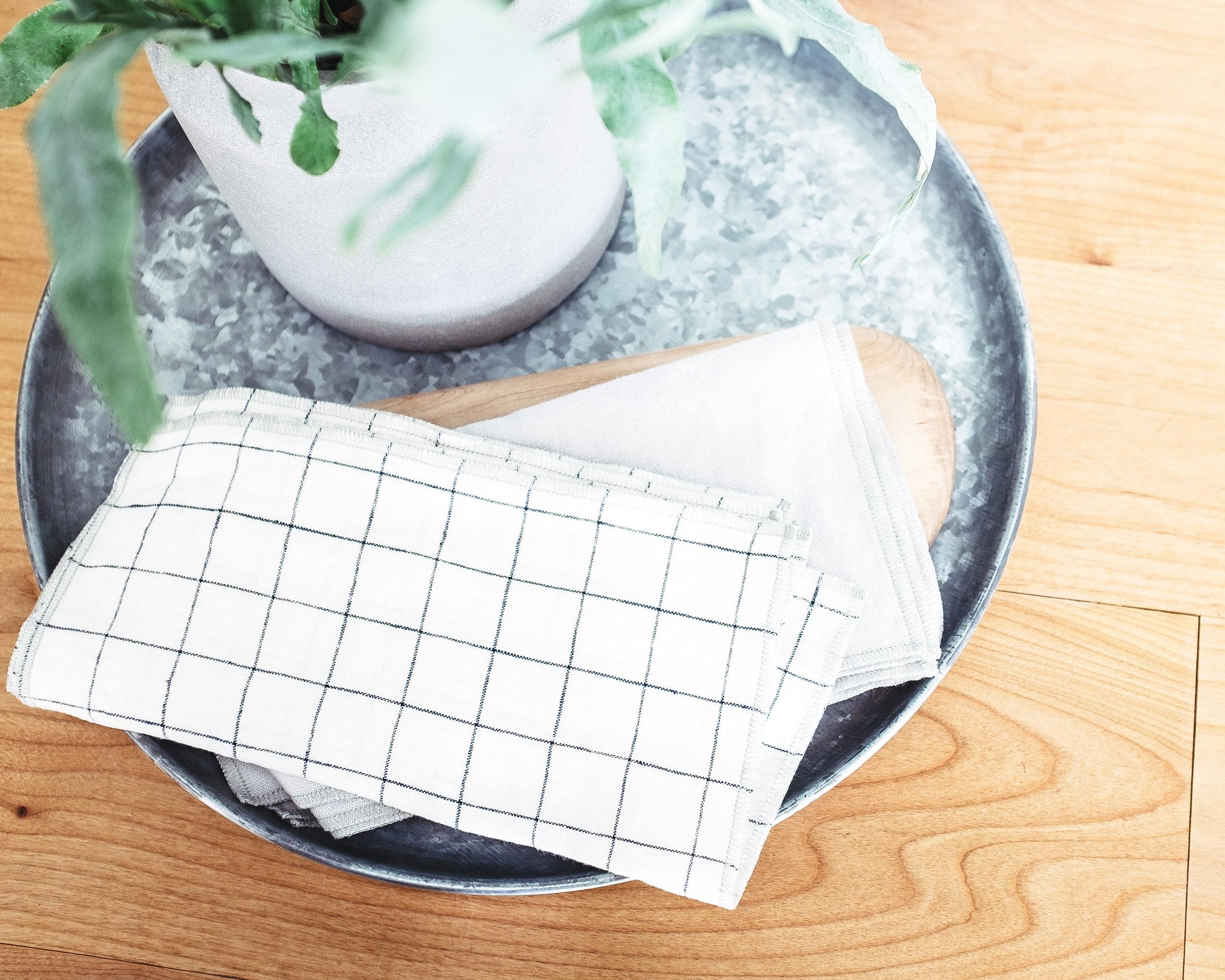 Everyday 100% Linen  Navy Windowpane  &  Luxe Gray Linen Dinner Napkin  Sets