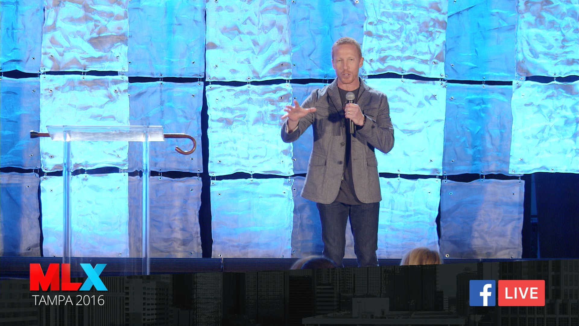 Maximized Living Co-Founder, Ben Lerner,streaming live to Facebook from their Tampa conference.