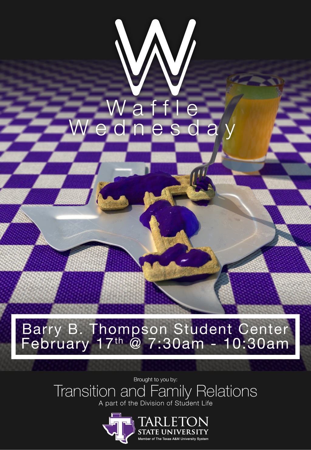 2016 Waffle Wednesday Poster — This one incorporates a logo which I though would give a clearer identity to the event. There were concerns about the event's attendance rate.  The rendered waffle image in this poster features quite a bit more objects and detail including the jelly, glass of orange juice, and more detailed textures for the plate, waffle, & table. I used 3ds Max as well as my newly acquired V-Ray renderer