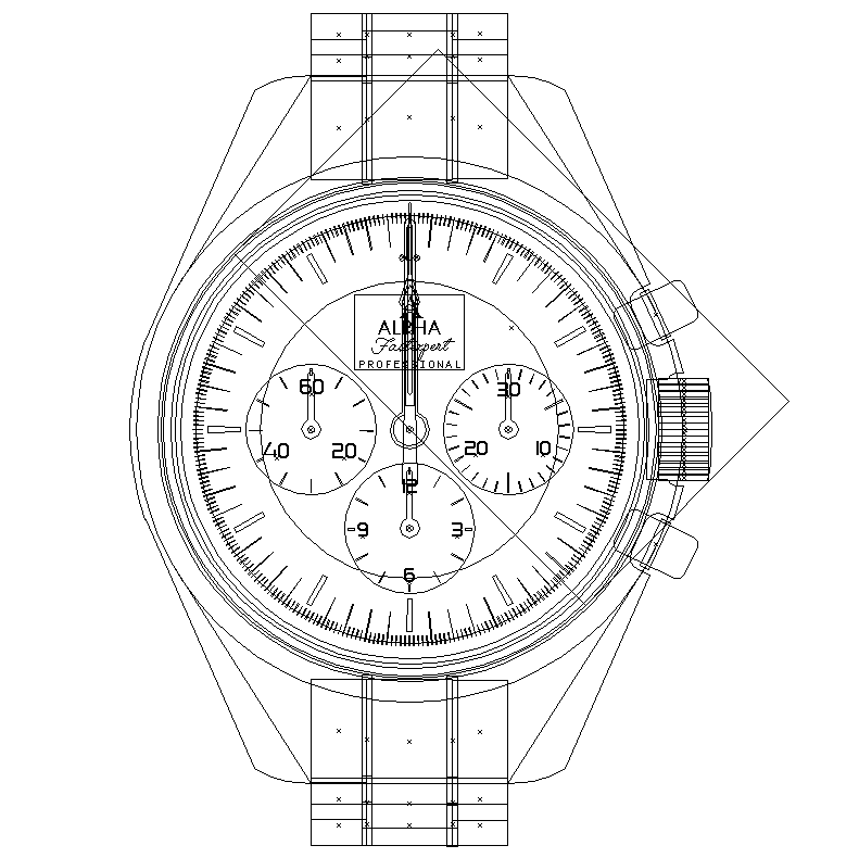 Wireframe of the finished watch