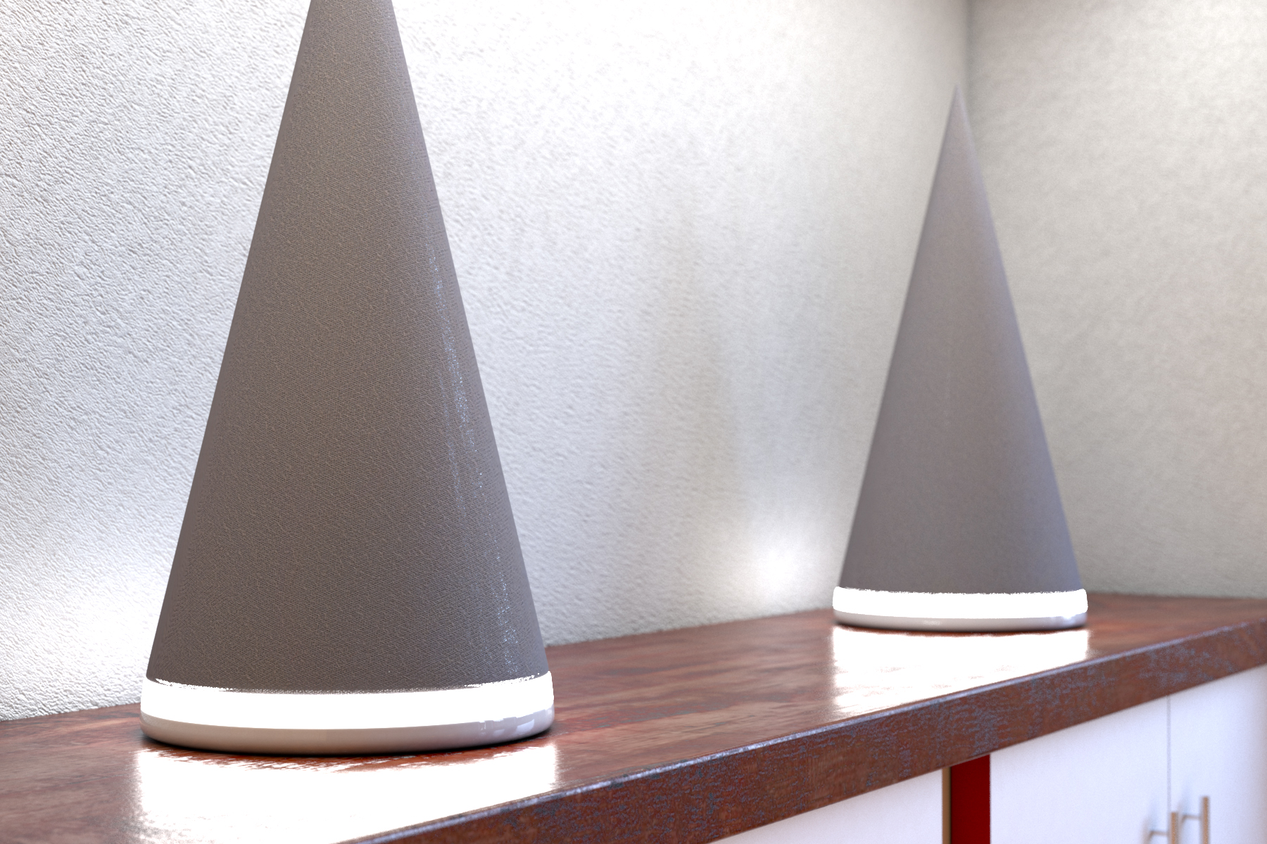 Speakers — 2 speakers (kind of like bluetooth speakers or something) with a ring light and a cloth material covering. I had to tweak the cloth texture from poliigon a little to make an opacity map which would allow the camera to see through that layer a little but. You can see a little plastic shining through.