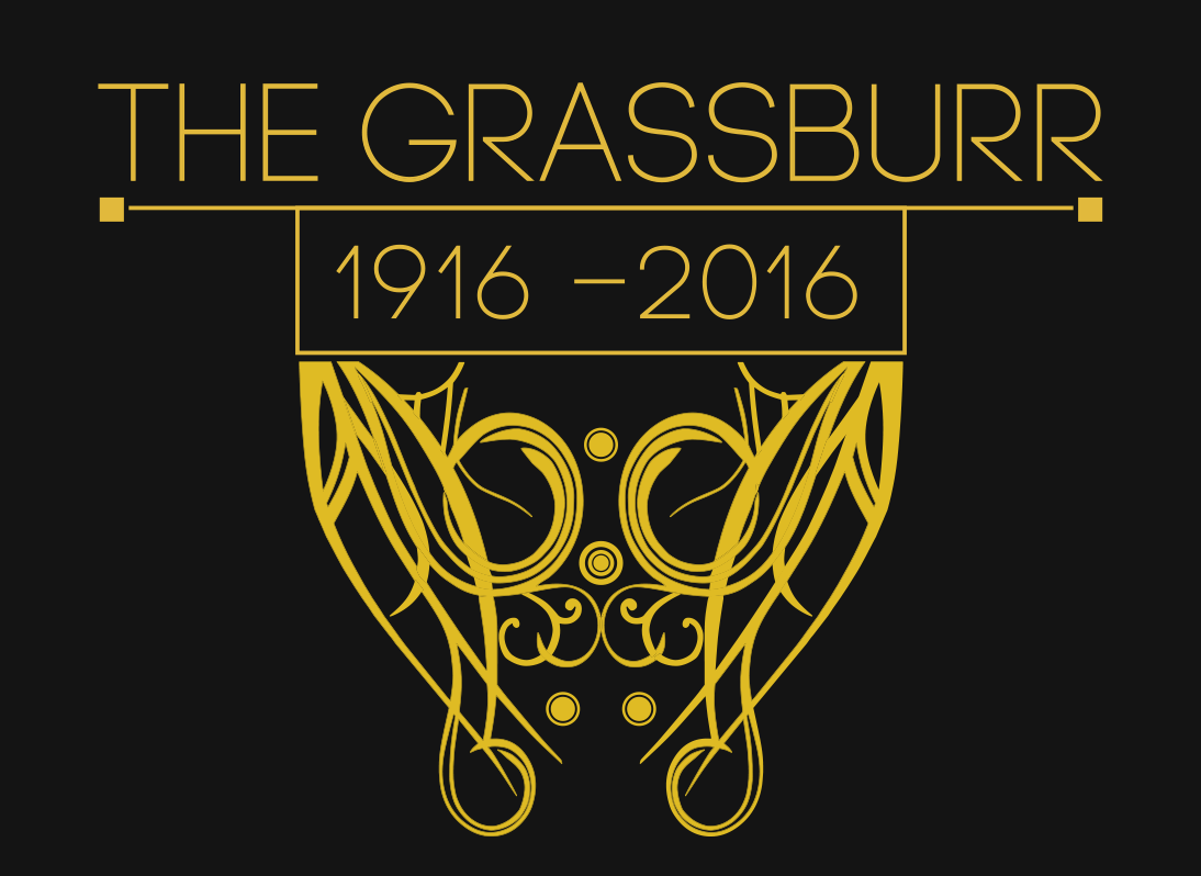 The new logo I designed and used for the centennial edition of the Grassburr and various related merchandise