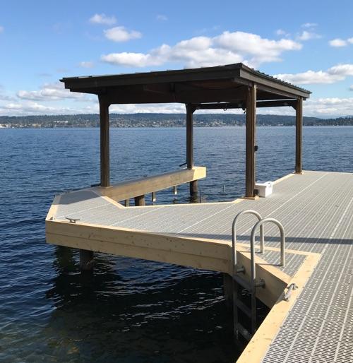 lake boat cover dock swimming rail