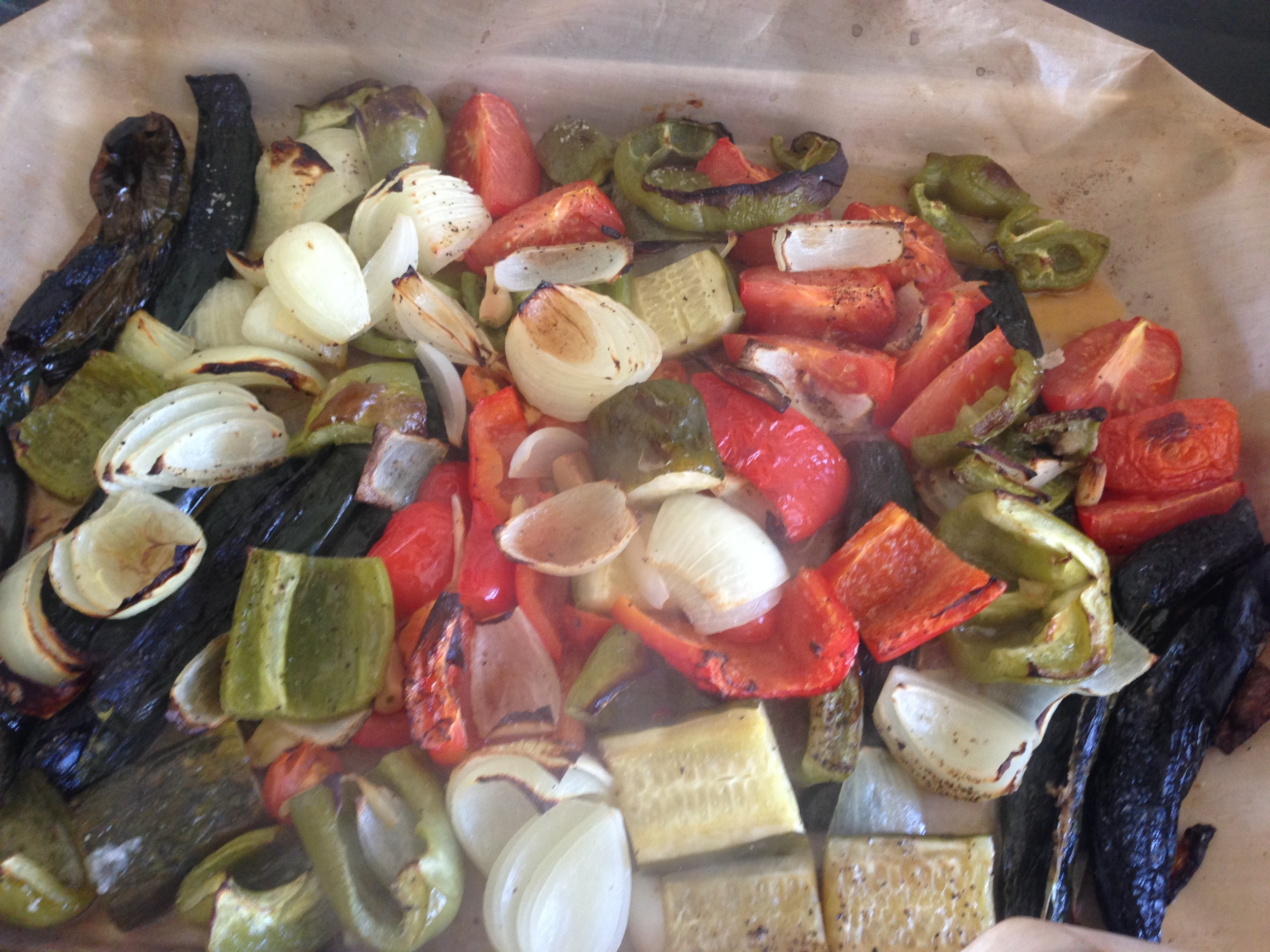 """David's fuming roasted vegetables (onions, cucumbers, bell peppers, chilaca chile peppers, garlic and tomatoes)before they were """"salsaed"""" by the food processor! It turned out super tasty with just the right touch of spiciness!"""