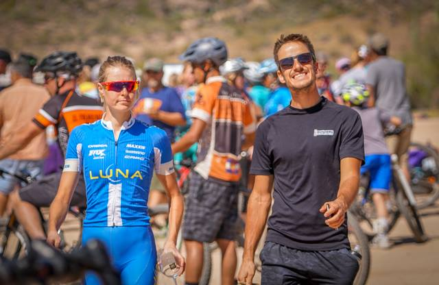 Dave and I doing our best impression of Dumb and Dumber...We seemed quite content after the Beti Bike Bash race and a good week of training. (I swear we didn't know Kenny Wehn was taking our picture haha)