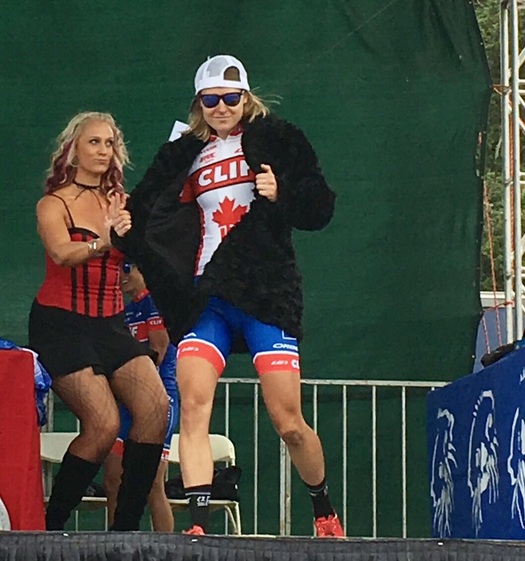 First ever Sea Otter podium. Obviously I had to borrow that woman's fancy fur jacket.