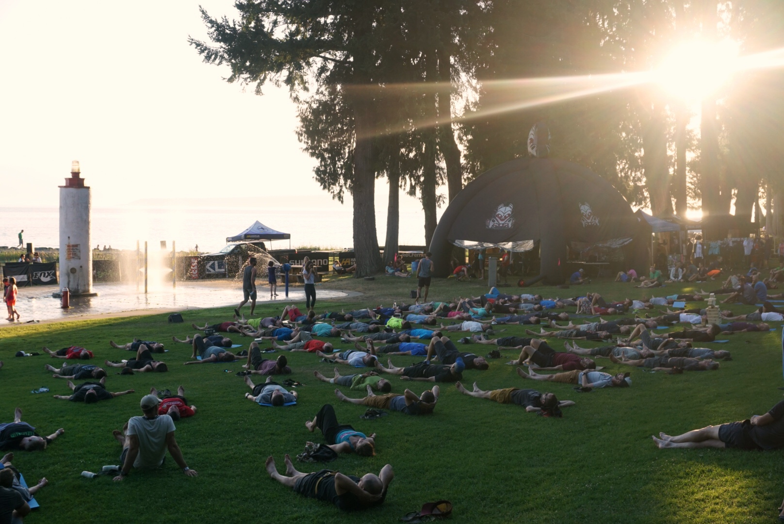 Every night, there is a yoga session at Basecamp
