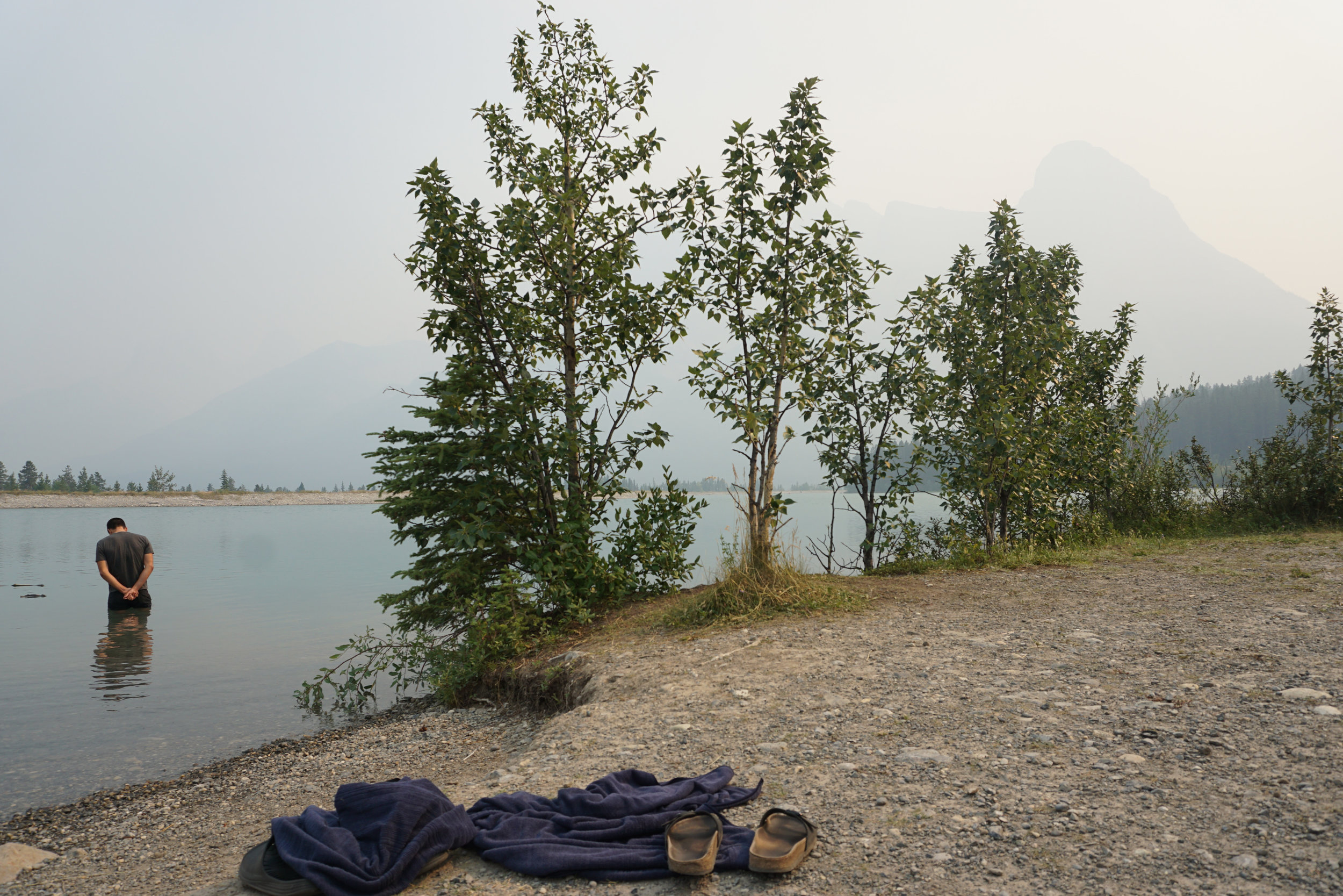 One of the goals this season was to swim in as many lakes as possible. Dave and I were pretty successful at this. Here, we are doing an Ice Bath in a glacial lake in Canmore, AB a few days before Nationals. The Wildfires in BC and AB were enormous this summer and the smoke situation was bad in the days leading to the race. However, it all cleared up for race day!