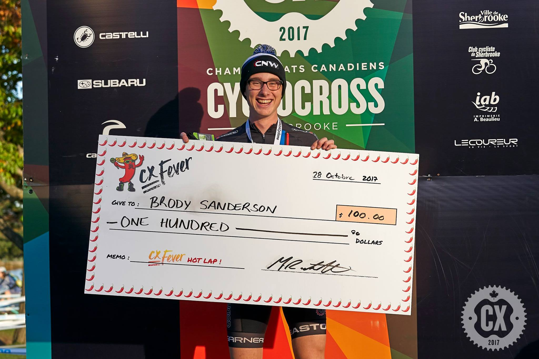 Brody was the spiciest U23 man and won the CX Fever Hot Lap. It was really fun and rewarding to be able to give them a little something for their efforts. Special mention to Laurie Coulombe for the very cool looking Cheque!