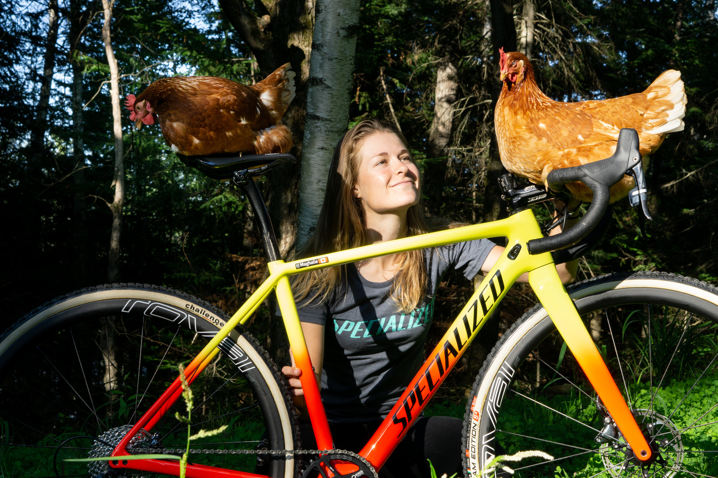 The chickens seem to love the bike just as much as I do!