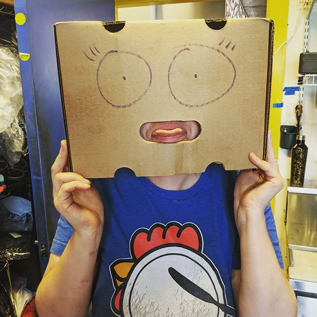 Meet our newest team member.  They definitely think inside the box.  #bigchickie #seattlerestauraunt #beststaffever