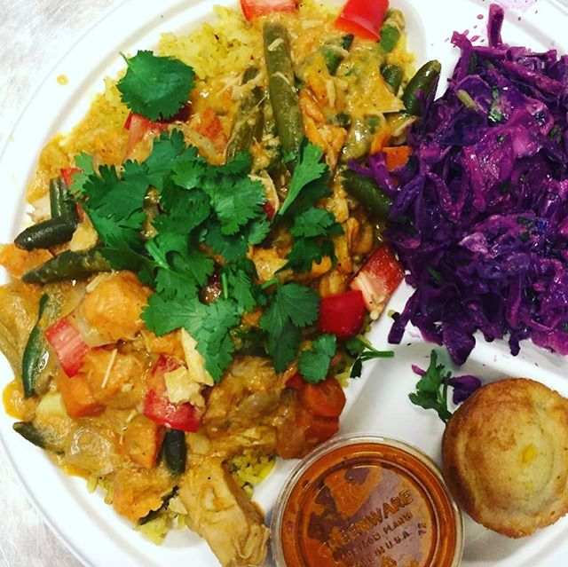 Blue Plate Lunch Special: curried chicken with veggies over rice.  Served with ginger slaw cornbread and a sauce (we recommend our orange hot sauce) and a Iced tea or lemonade all for $10.  #blueplatespecial #bigchickie #hillmancity #realfood