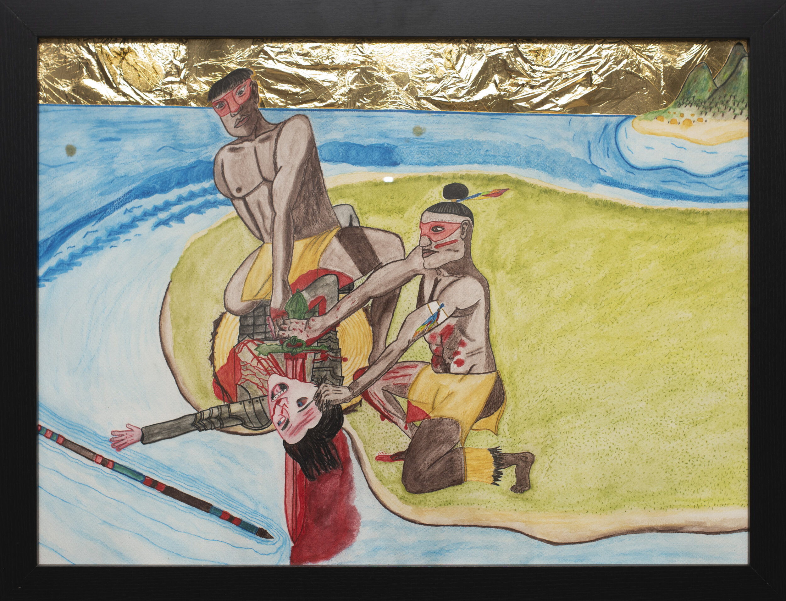 """Ní'Tiñao Slaying Colonizer , Watercolor and Gold Leaf on Paper, 18""""x24"""", 2018"""