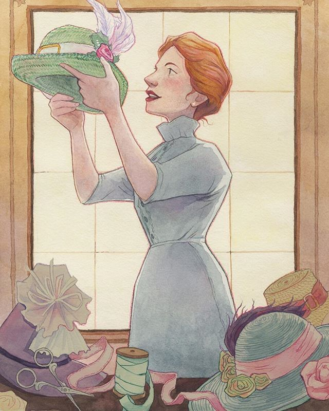 """had fun with the Howl's Moving Castle Folio Society prompt this year! First piece, from chapter one: """"She flattered the hats a bit, because you should flatter customers."""" . #illustration #svamfaillustration #childrensbookillustration #dianawynnejones #watercolor #coloredpencil #watercolorillustration #howlsmovingcastle #artistsoninstagram #illustratorsoninstagram #illustrator #instaart #drawing #painting"""