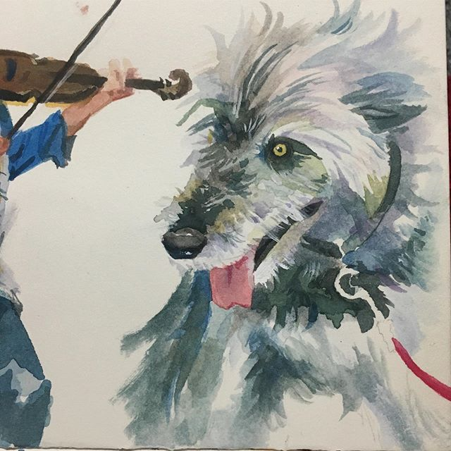 watercolors from @dublinirishfest this past weekend ☘️ Featuring a wolfhound and members of SLIDE and @cassieandmaggie . So many great musicians! . . #watercolor #illustration #dublinirishfestival #asseenincolumbus #painting