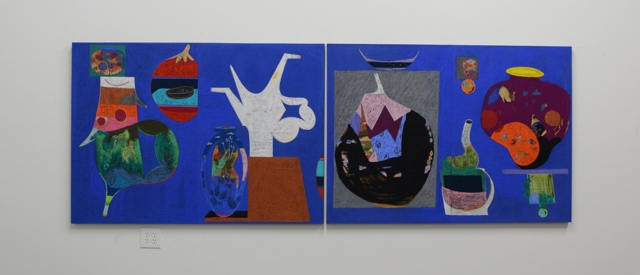 """Ryan Fenchel. """"Arcade Ex.,"""" 2014 chalk pastel and oil pastel on paper mounted to panel"""