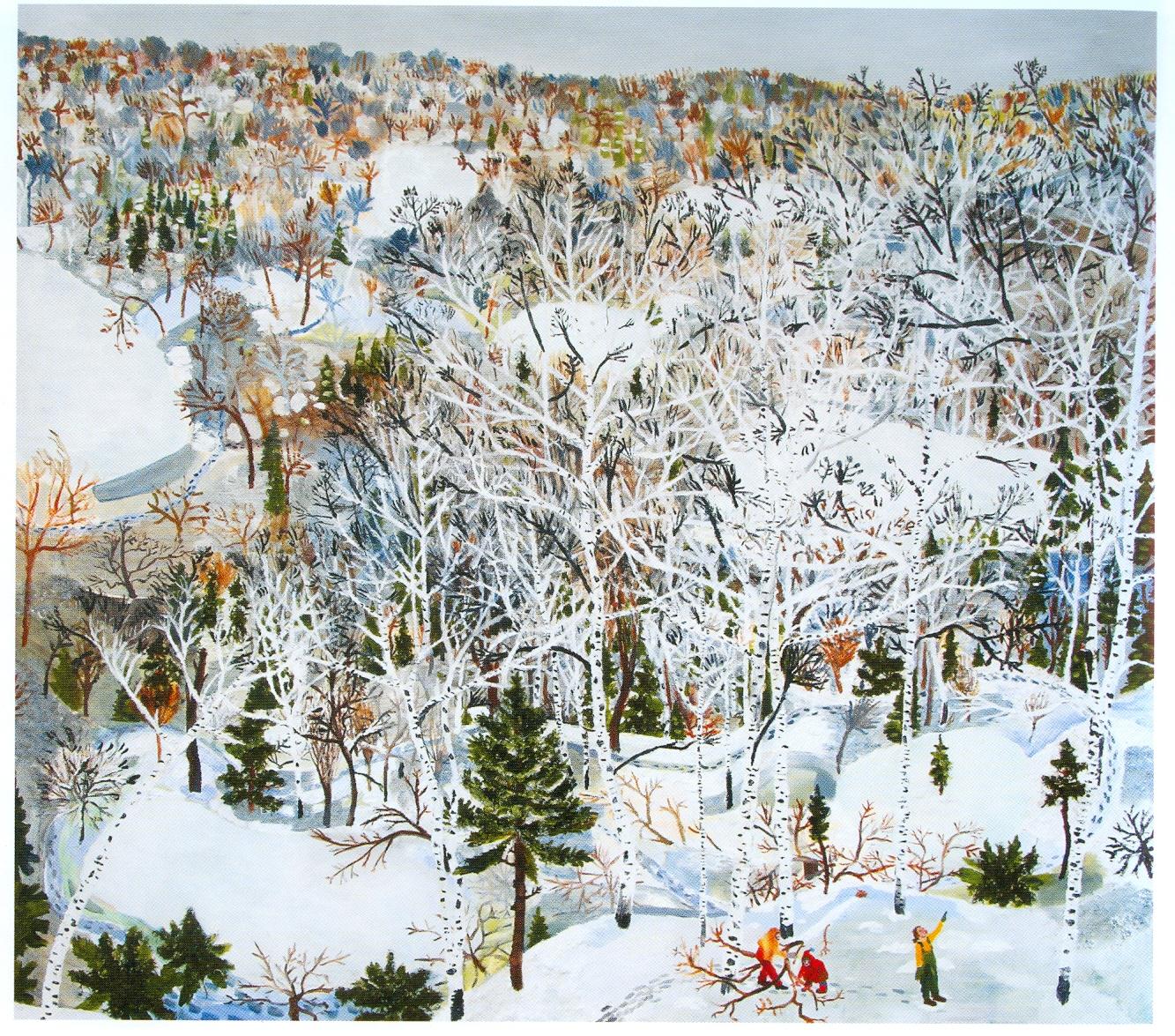 """Sophia Heymans. """"January,"""" Acrylic, Papier mache, moss and oil on canvas, 48″ x 54″"""