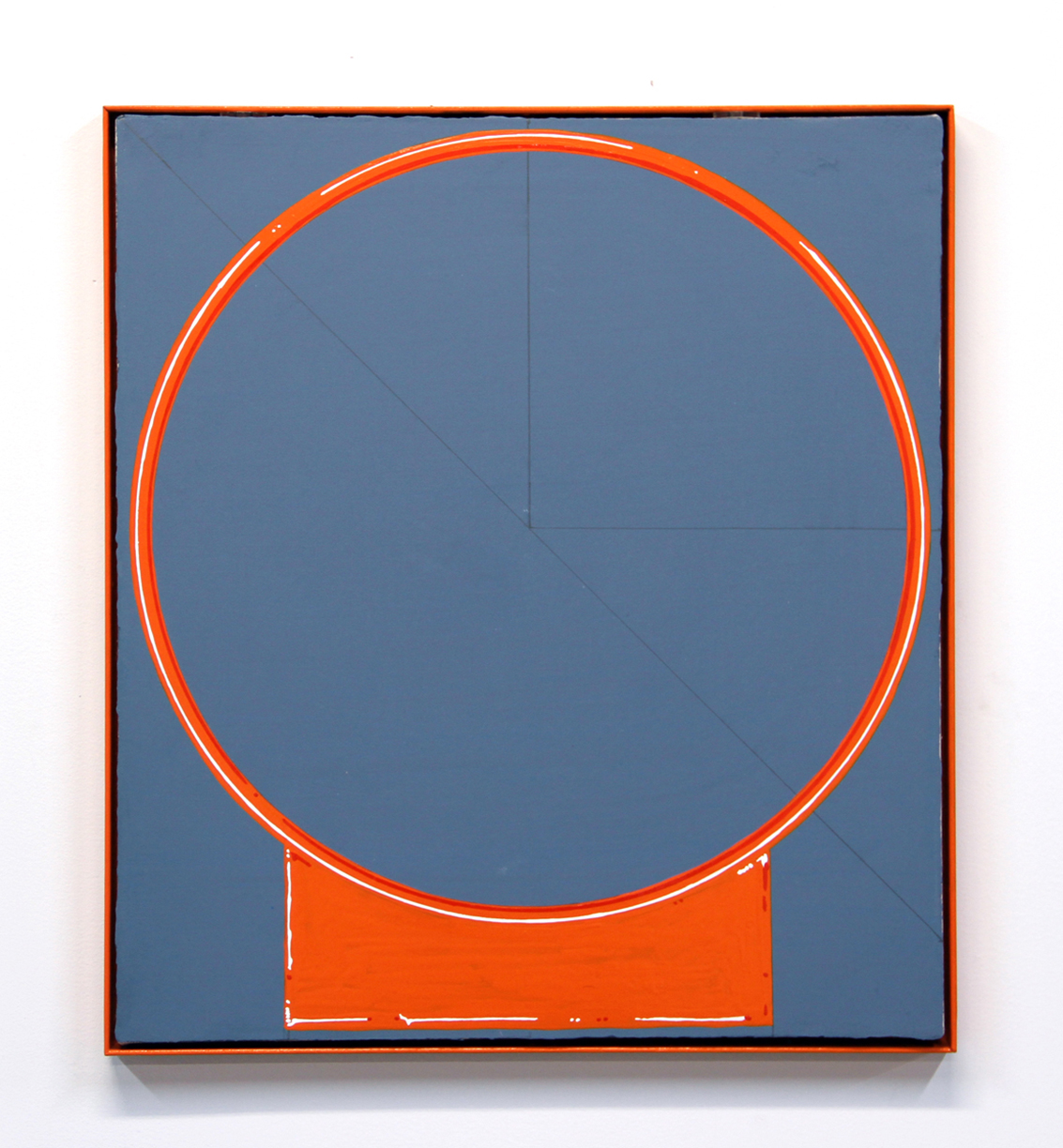 """Boyang Hou, """"Practice Makes Perfect,"""" 2016. Enamel, gesso on canvas, powder-coated steel, 19.5 x 17.5 inches"""