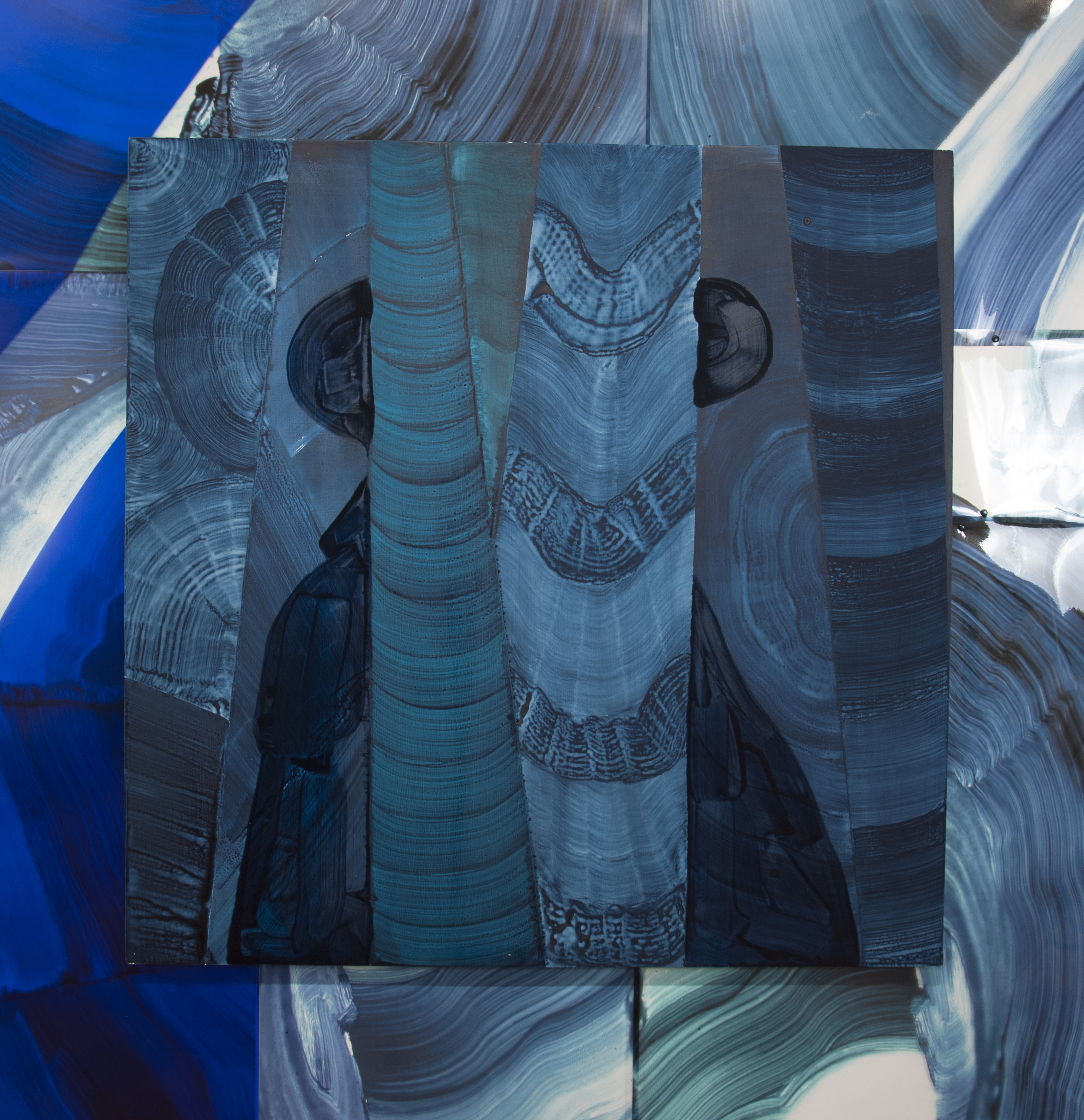 """Justin Witte. Detail of """"Zone and Zonen,"""" 2013. Mylar, acrylic and oil on board, 48 x 48 inches"""