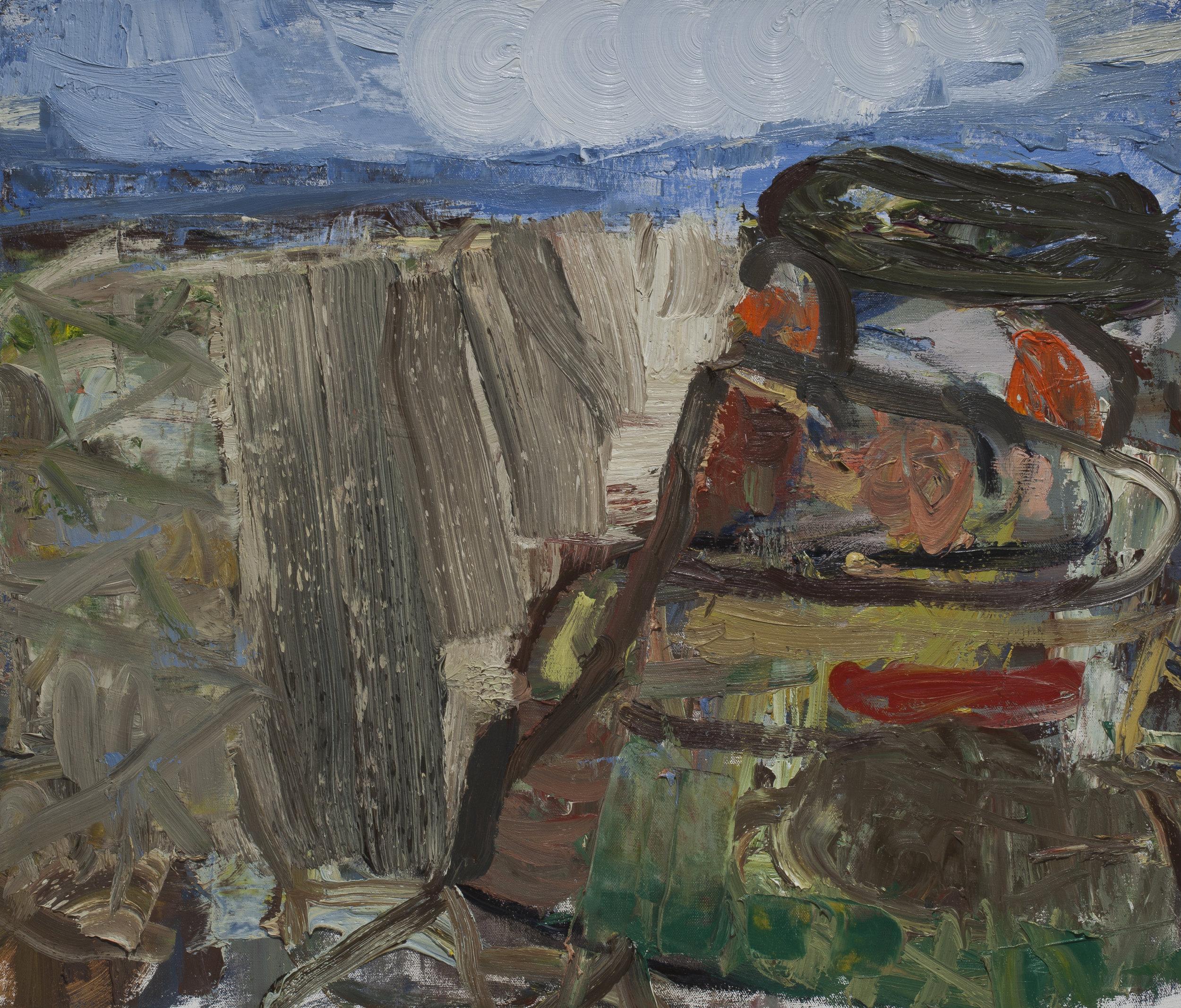 "John Santoro, ""Happy Mesa"" Oil on Canvas. 24 X 28. 2013. Courtesy of the artist."