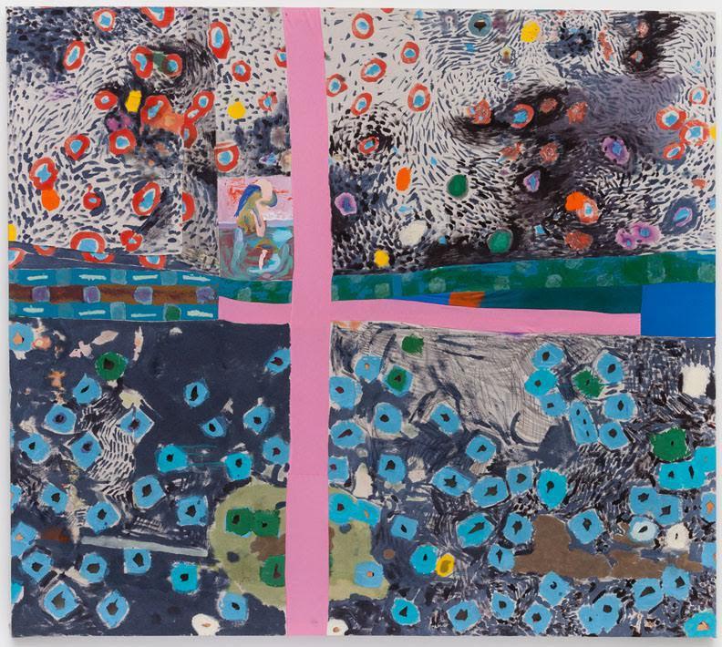 "Molly Zuckerman-Hartung, ""Georgia, or Take Me Back Take Me Way Way Way Back."" Dye, oil, and acrylic on sewn fabric, 72 x 81 inches"