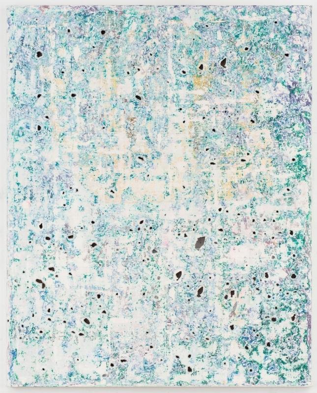 Kadar Brock, green teal brush strokes brush strokes hannah cursed seal, 2017, oil, flashe, house paint and spray paint on canvas, 60 x 48 x 2