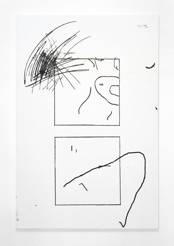Sofia Leiby, EYEBROW, Torrance test incomplete figure, Franck Completion Test blank, Abbildung 1: Kritzeldarstellungen von Wut, Measurement of Intelligence Drawings, fig. 3, 2016, silkscreen ink on canvas, 60 x 40