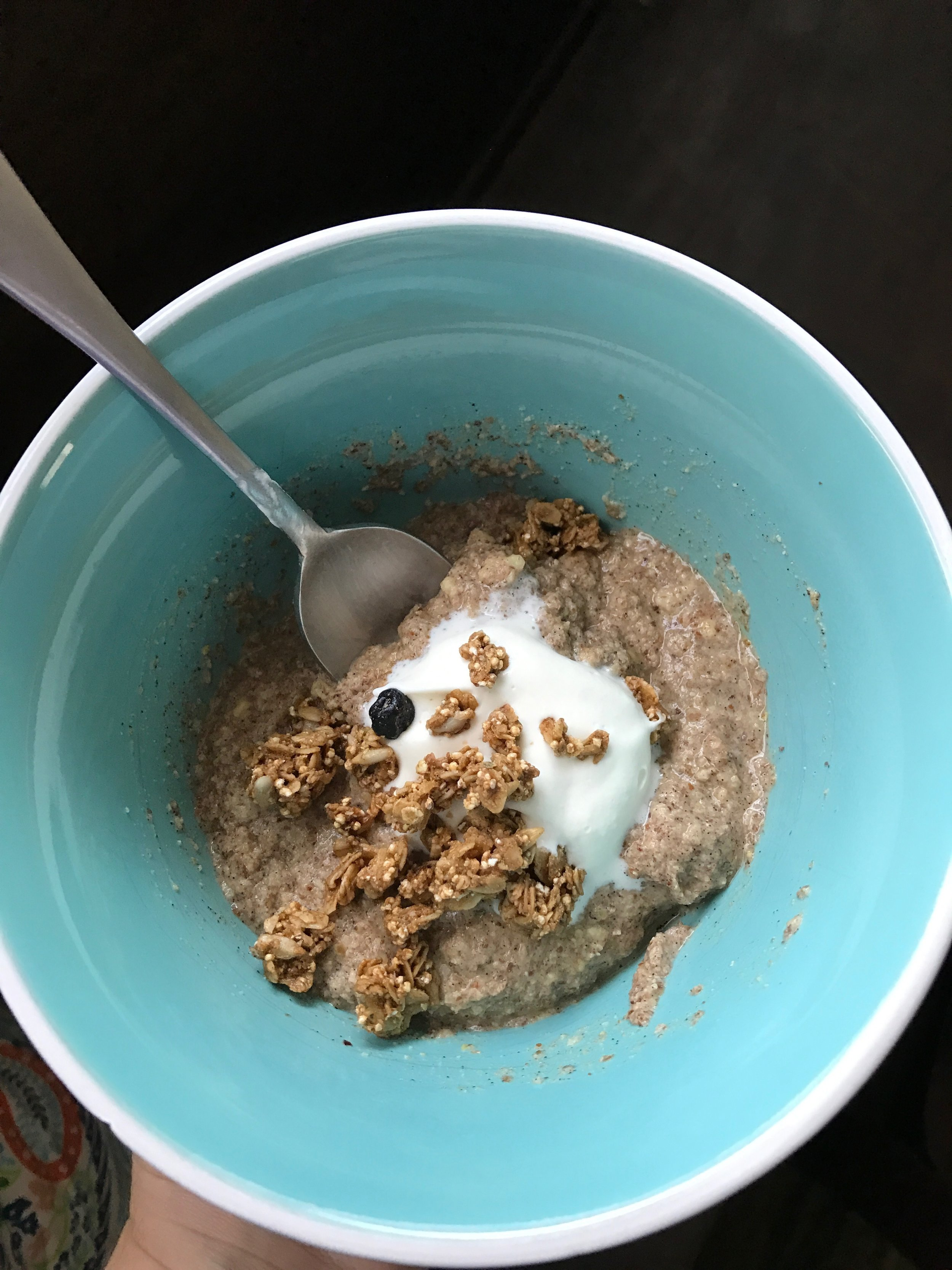 Wild Way Cereal with Purely Elizabeth Blueberry Granola...dollap of fresh real homemade whipped cream, because that's how I roll.