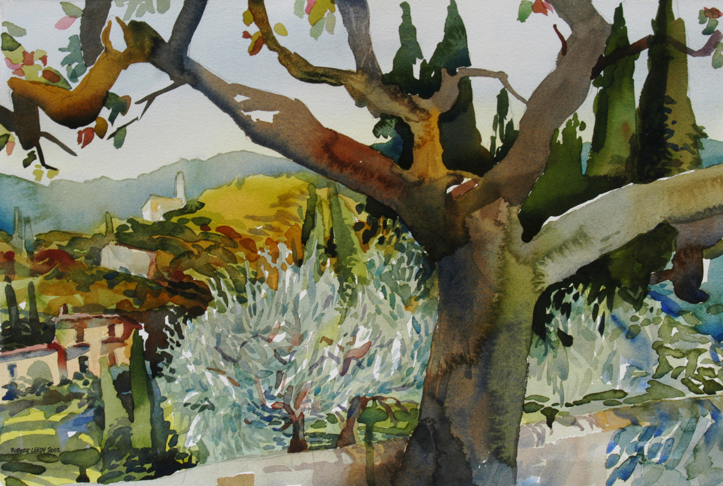 """Fig & Olive Trees at Lake Garda, Italy"" by Robert Leedy, watercolor on paper."