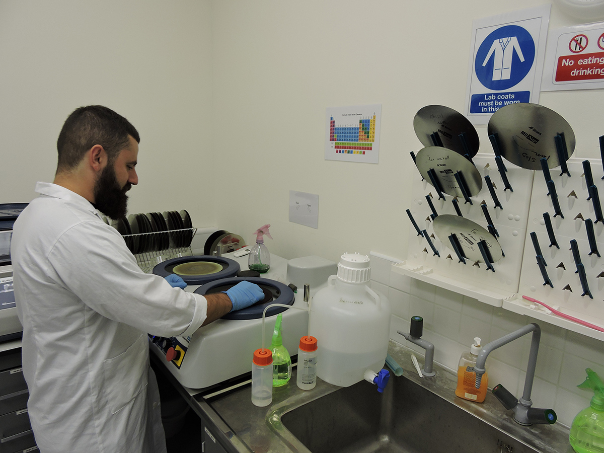 Sample preparation in the materials science laboratory.