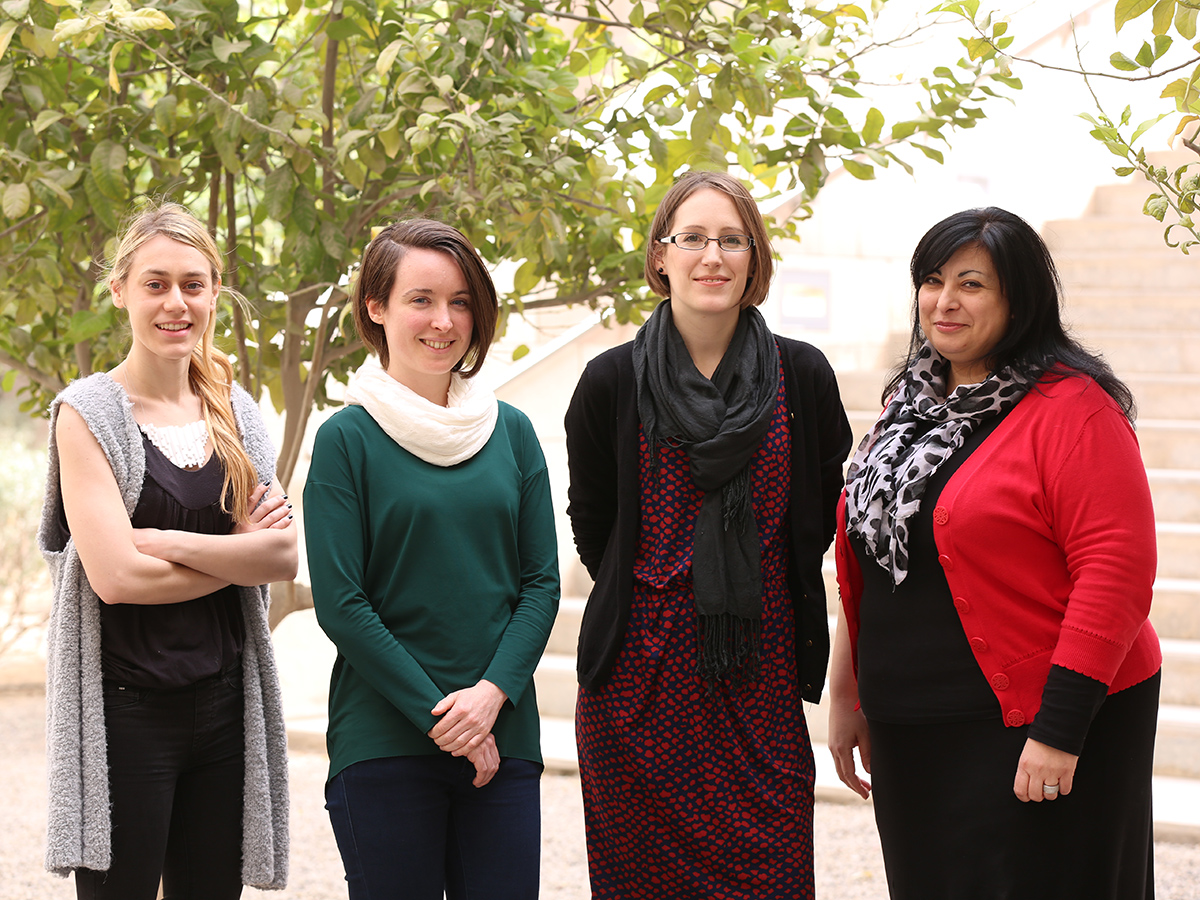 Part of the UCL Qatar team. From left to right, Stefani Kavda, Flavia Ravaioli, Jill Saunders, Stavroula Golfomitsou.