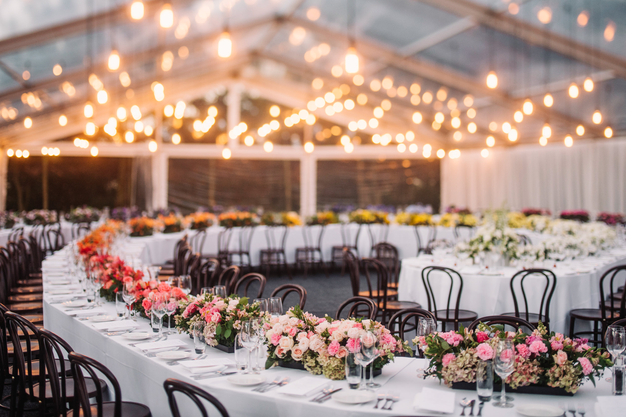 spiral table in clear marquee for Tasmanian property wedding