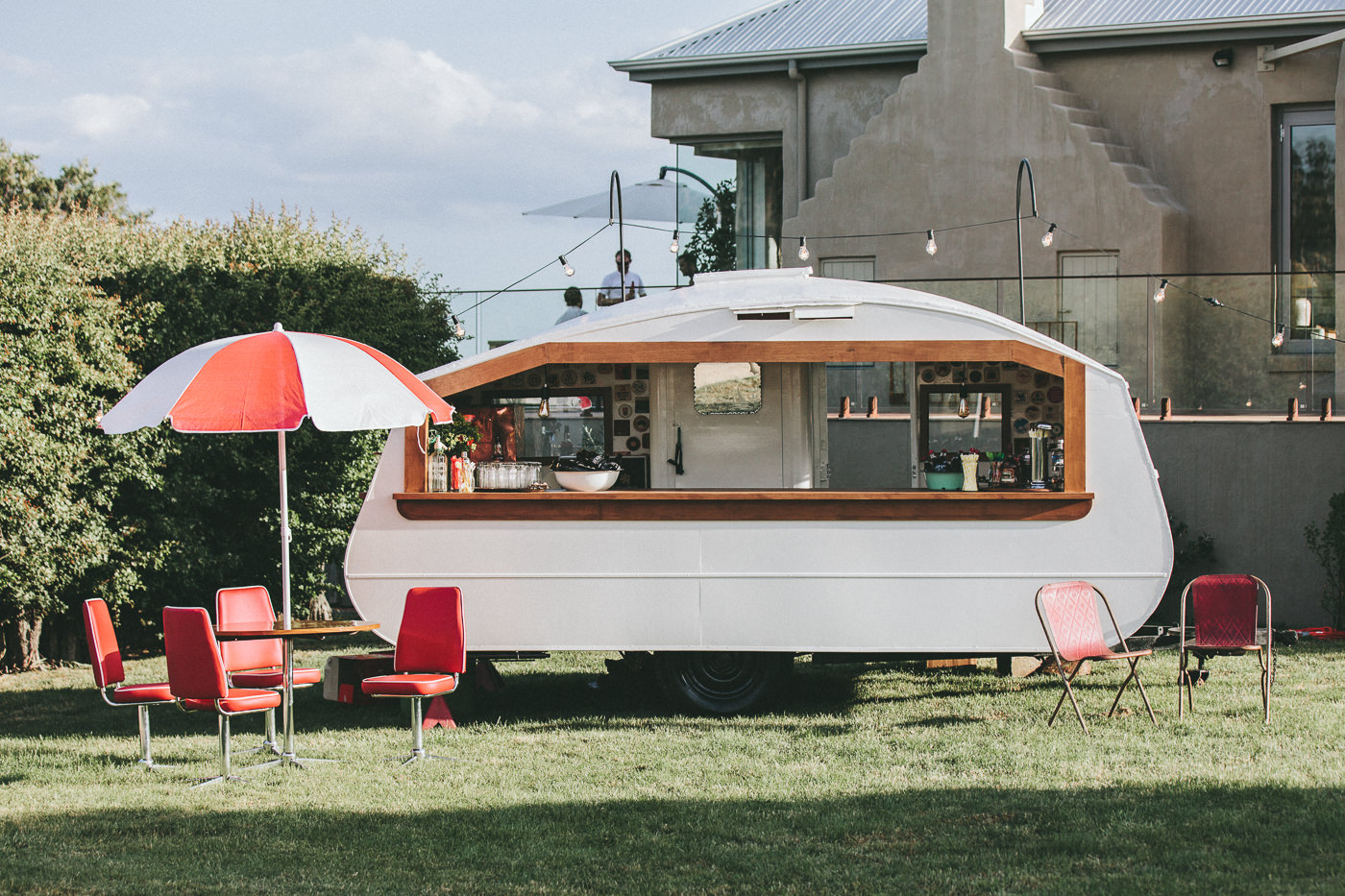 Custom made caravan bar on the family property