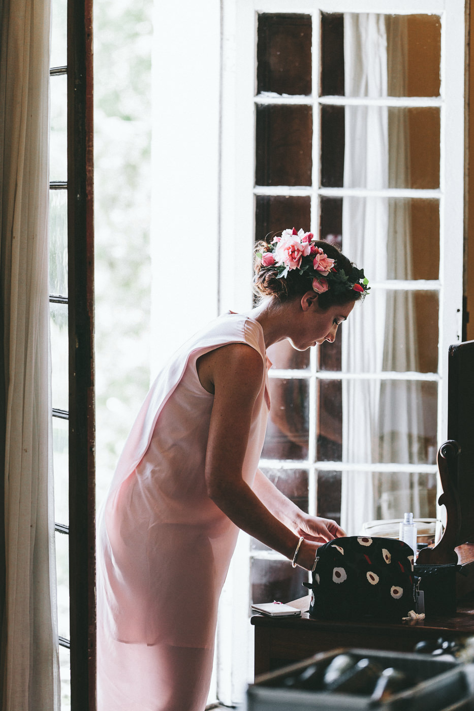 Bridesmaid with floral crown