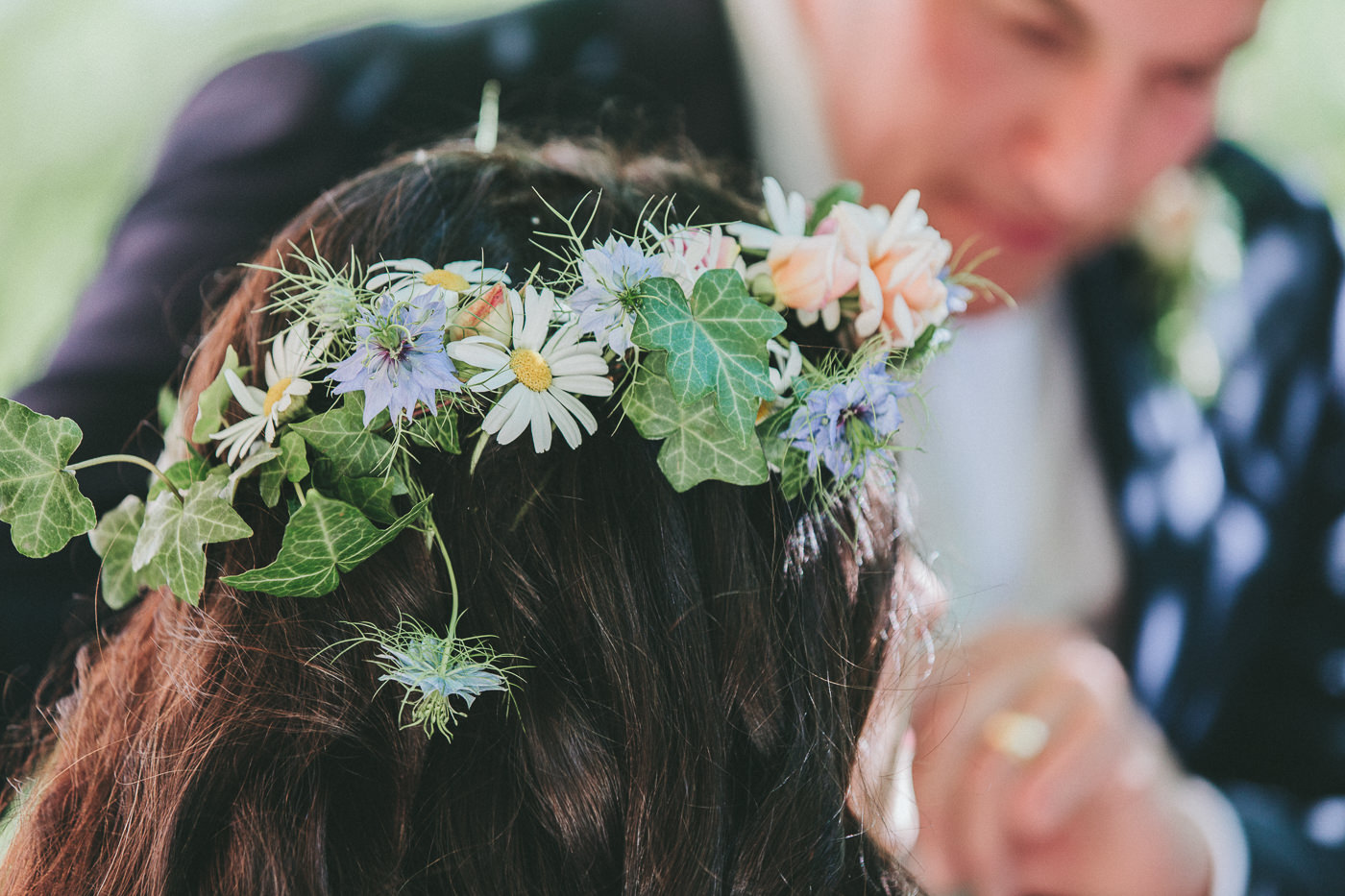 Brides Floral crown with daisies