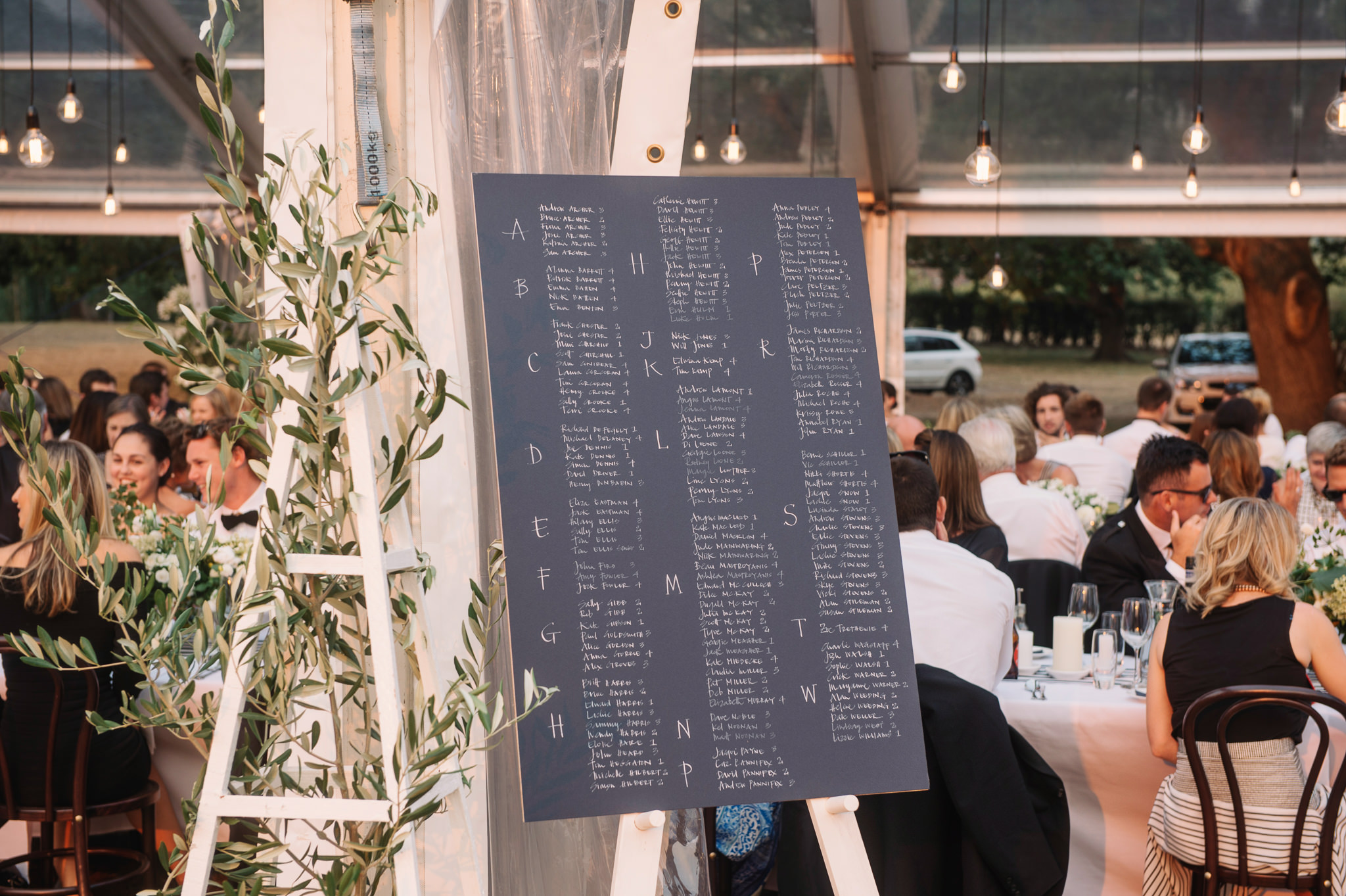 Hand written seating plan for guest placement