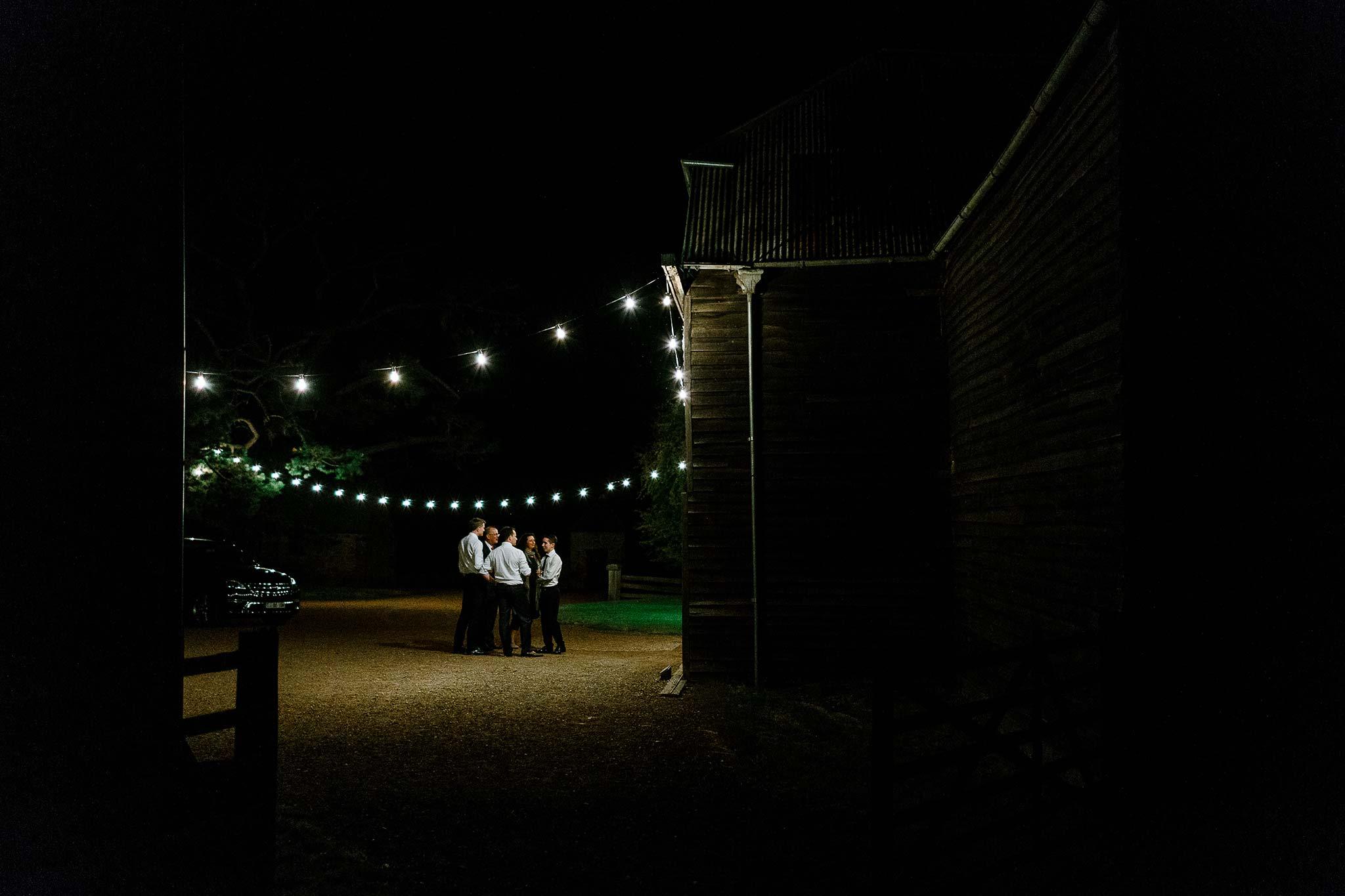 Festoon lighting outside the barn at Brickendon