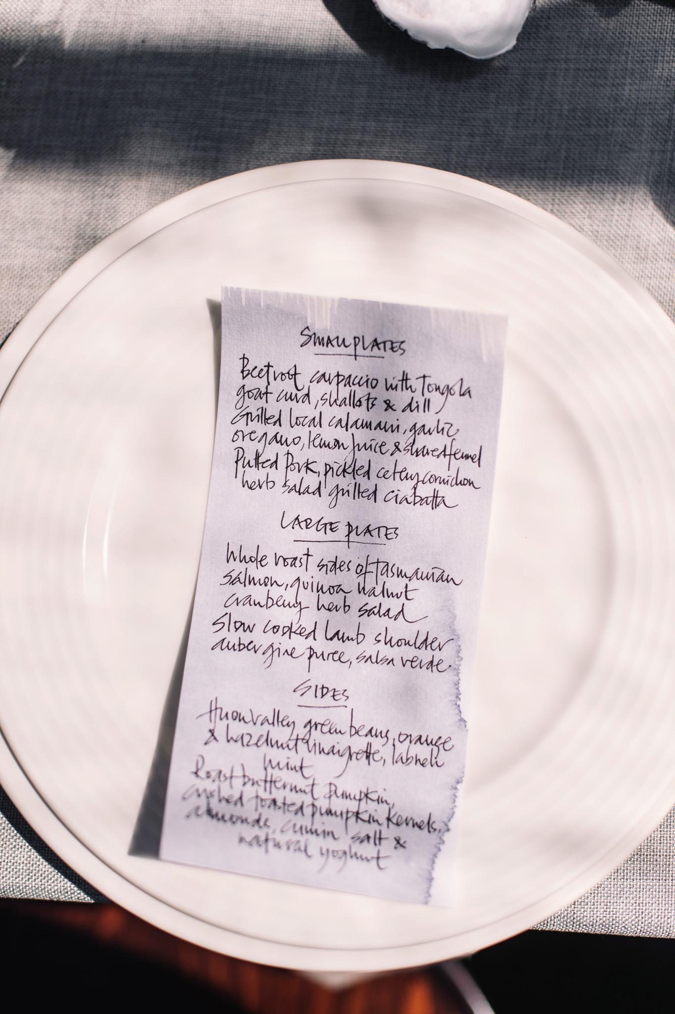 Hand written menus