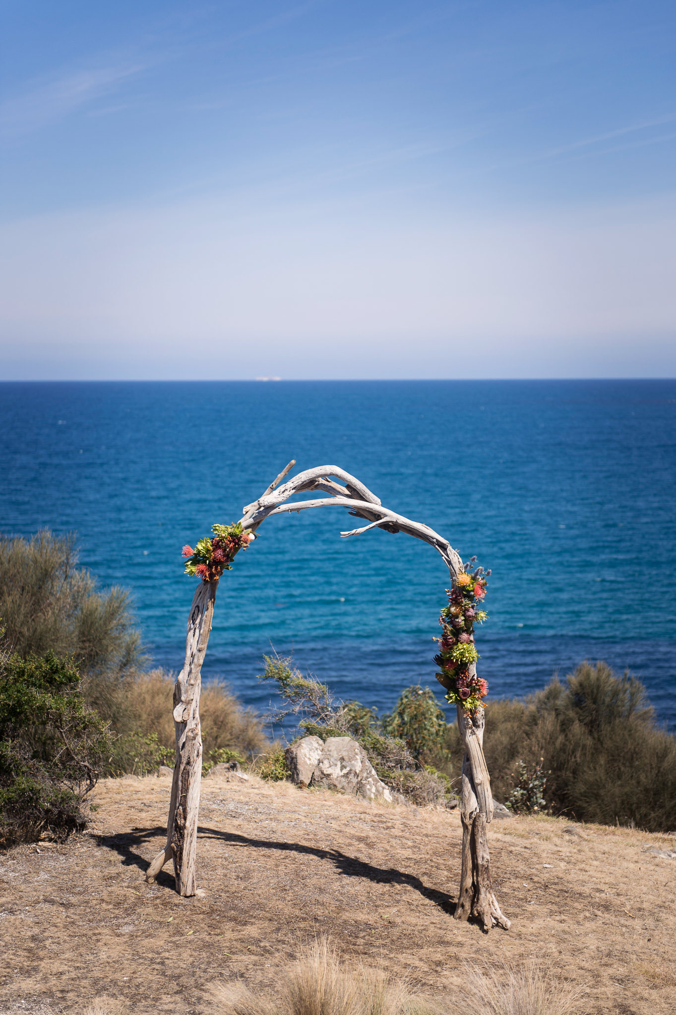 Custom made driftwood arch sourced from the property's private beach